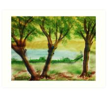 Lets Picnic under these trees by the lake, watercolor Art Print