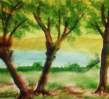 Lets Picnic under these trees by the lake, watercolor by Anna  Lewis, blind artist