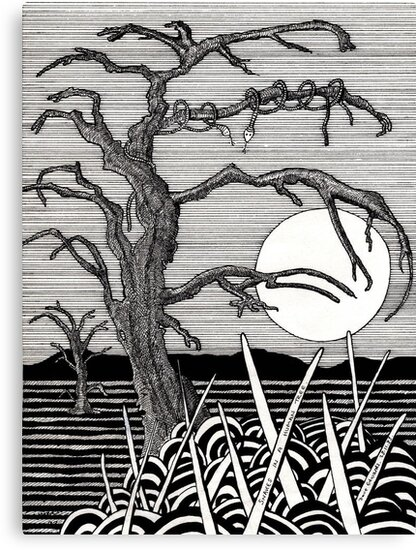 72 - SNAKES IN A HUMAN TREE - DAVE EDWARDS - INK - 1983 by BLYTHART