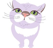 Cat with big green eyes. by Polanika