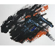 Rita-T, Abstract Painting, Black-BlueGray-Orange Photographic Print