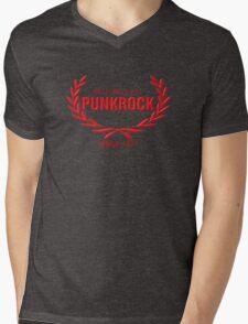 Old School PUNKROCK Since 1977 (in red) Mens V-Neck T-Shirt