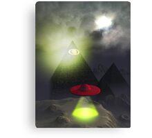 Illuminati Pyramid and UFO Canvas Print