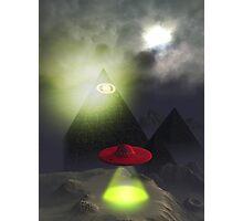 Illuminati Pyramid and UFO Photographic Print