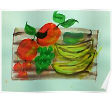 Cutting board loaded with fruit, watercolor Poster