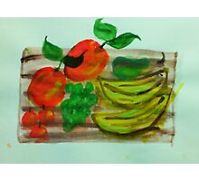Cutting board loaded with fruit, watercolor Photographic Print