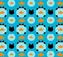 Fishbowl and a Cat Pattern by XOOXOO