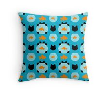 Fishbowl and a Cat Pattern Throw Pillow