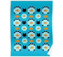 Fishbowl and a Cat Pattern Poster