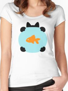 Fishbowl and a Cat Pattern Women's Fitted Scoop T-Shirt