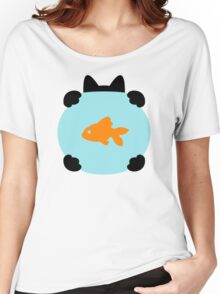 Fishbowl and a Cat Pattern Women's Relaxed Fit T-Shirt