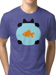 Fishbowl and a Cat Pattern Tri-blend T-Shirt