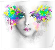 Multicolored abstractn Woman Beautiful portrait illustration Poster