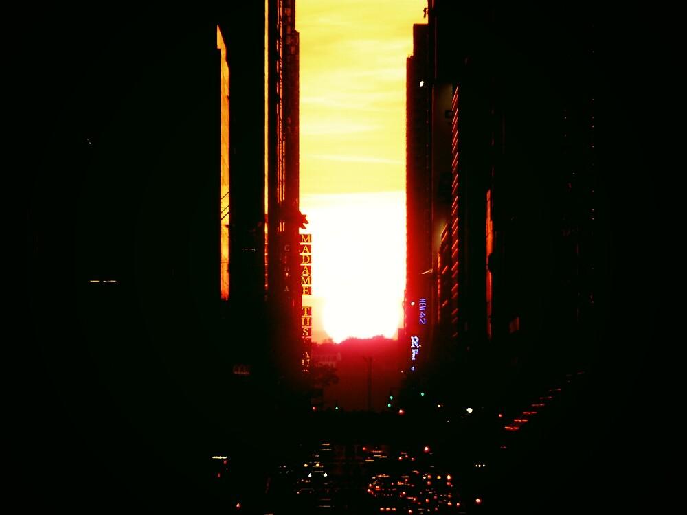 Manhattanhenge Sunset in New York City Looking Down 42nd Street by Vivienne Gucwa