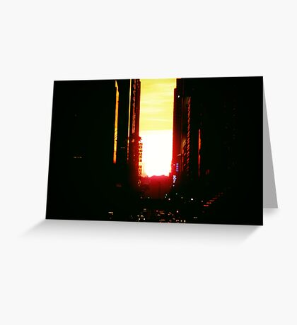 Manhattanhenge Sunset in New York City Looking Down 42nd Street Greeting Card