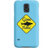 Gone Fishing yellow sign with a shark Samsung Galaxy Case/Skin