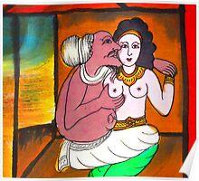 Scroll paining illustrating the Phra Vessandorn Birth Story Poster