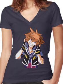 Sora - Kingdom Hearts Women's Fitted V-Neck T-Shirt