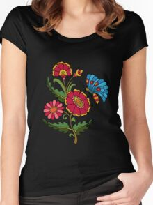 flower and butterfly black Women's Fitted Scoop T-Shirt