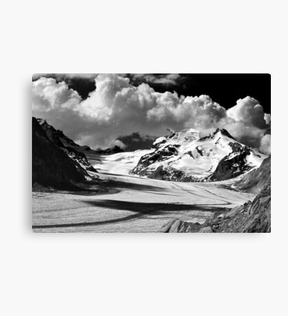 Clouds over the Aletsch Glacier Canvas Print