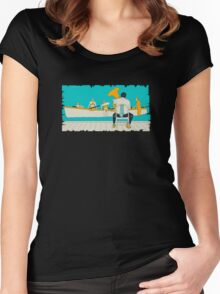 On The Beach - Yellow Shoes, acrylic painting Women's Fitted Scoop T-Shirt