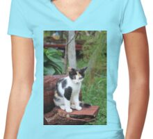 Victoria-Maria a Garden Ornament Women's Fitted V-Neck T-Shirt