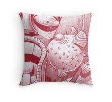 Tiki and Blowfish Throw Pillow