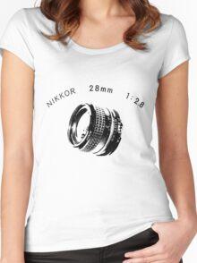 Nikkor 28mm Black Women's Fitted Scoop T-Shirt