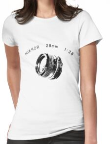 Nikkor 28mm Black Womens Fitted T-Shirt