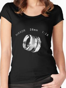 Nikkor 28mm White Women's Fitted Scoop T-Shirt