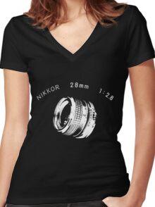 Nikkor 28mm White Women's Fitted V-Neck T-Shirt