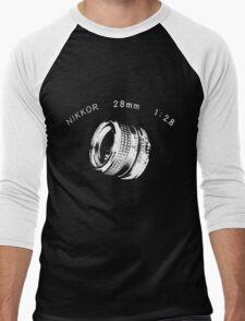 Nikkor 28mm White Men's Baseball ¾ T-Shirt