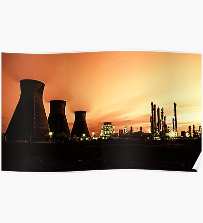 Grangemouth Refinery by Night Poster
