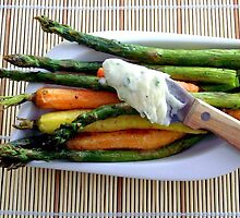 Roasted Asparagus & Baby Carrots with Chive Butter by Kimberly Morales
