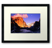 MOONRISE AT SUNSET,YOSEMITE VALLEY Framed Print