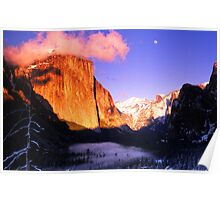 MOONRISE AT SUNSET,YOSEMITE VALLEY Poster