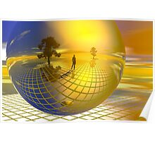 Surreal landscape with trees Poster
