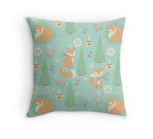 Frosted Foxes Throw Pillow