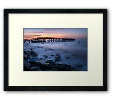 Wooden Pier Sunrise Framed Print