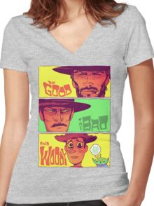 The Good, The Bad and Woody Women's Fitted V-Neck T-Shirt