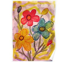 Summer flowers, watercolor Poster