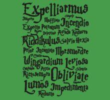 Harry Potter Spells, Magic Spelling One Piece - Short Sleeve