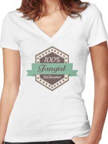 100% Fangirl, Feels Guaranteed (choc) Women's Fitted V-Neck T-Shirt