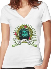 He Has Risen to Feed Women's Fitted V-Neck T-Shirt