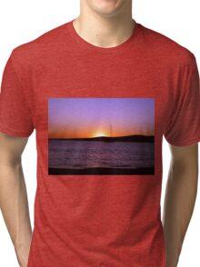Paros Island, Greece - Sunset Behind Boat Tri-blend T-Shirt