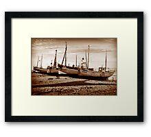 Fishing Boats on pebble beach Framed Print
