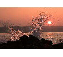 Breaking wave in the sunset, Ballycastle, N. Ireland Photographic Print