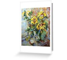 sunflowers on the window Greeting Card