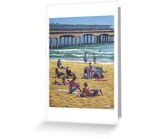 people on Bournemouth beach Boys looking Greeting Card