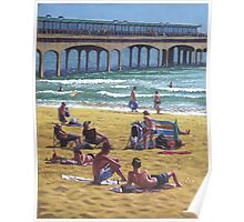 people on Bournemouth beach Boys looking Poster